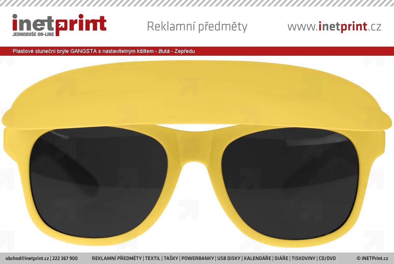 Plastové sluneční brýle GANGSTA s nastavitelným kšiltem - žlutá - Zepředu  ... 39b3ad4172
