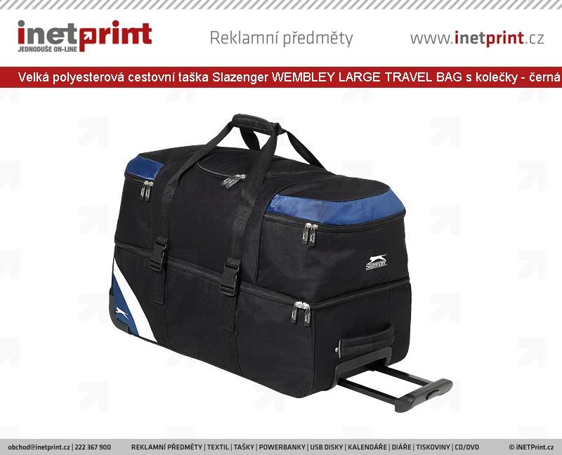 9c17bc3bc22 ... Velká polyesterová cestovní taška Slazenger WEMBLEY LARGE TRAVEL BAG s  kolečky - černá   modrá ...