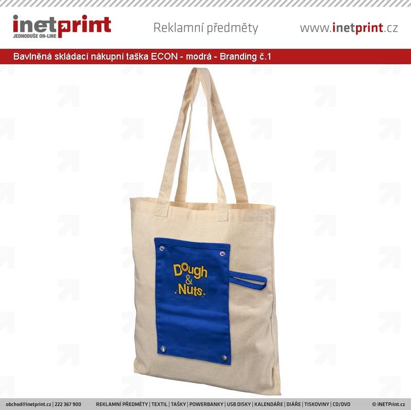 a10b5e269 ... Bavlněná skládací nákupní taška ECON - modrá - Branding č.1