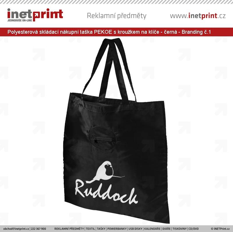 1fd5ae42f ... Polyesterová skládací nákupní taška PEKOE s kroužkem na klíče - černá -  Branding č.1