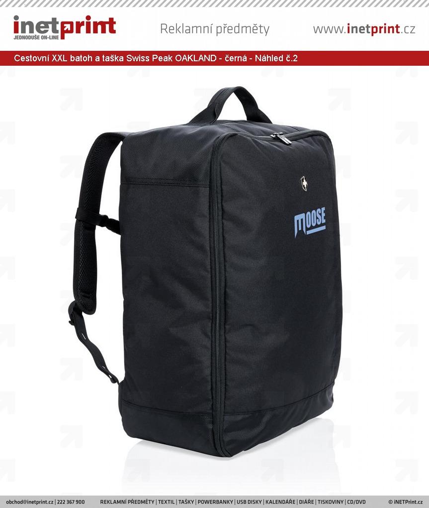 Značkový cestovní XXL batoh a taška Swiss Peak OAKLAND - černá - Náhled č.2  ... 1f80a46055