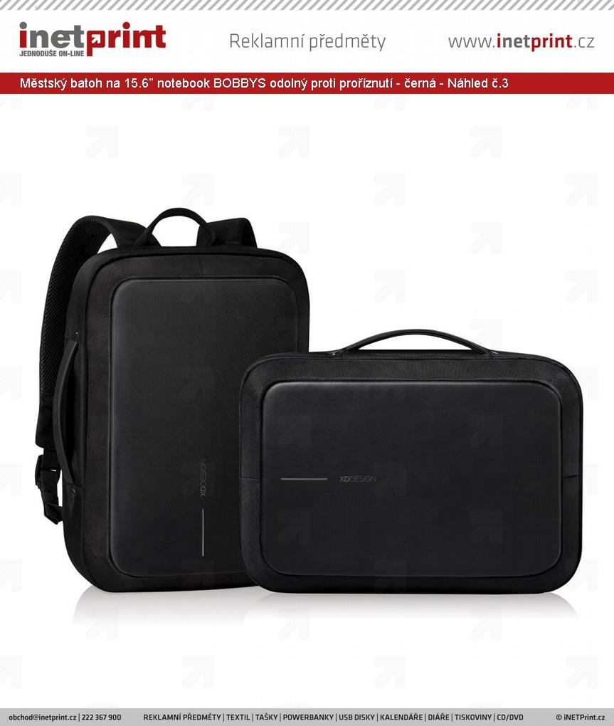"""052cbd4551 Městský batoh na 15.6"""" notebook BOBBYS odolný proti proříznutí - černá -  Náhled č."""
