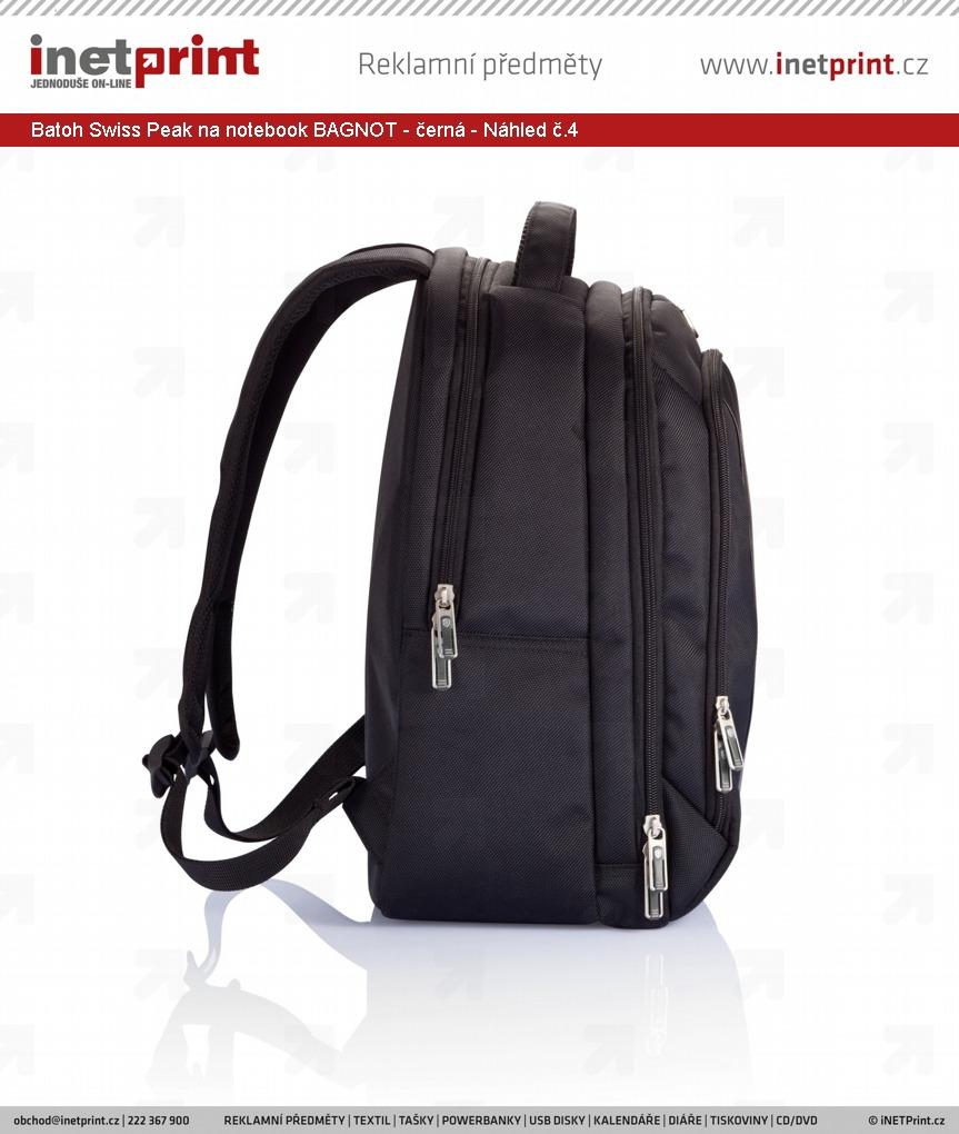 ... Značkový batoh na notebook Swiss Peak BAGNOT s organizérem - černá -  Náhled č.4 ... ab6d664747