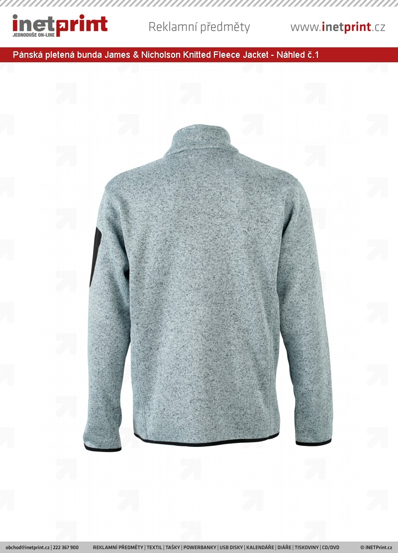 e48ad6e1a440 Pánská pletená bunda James   Nicholson Mens Knitted Fleece Jacket - Náhled  č.1 ...
