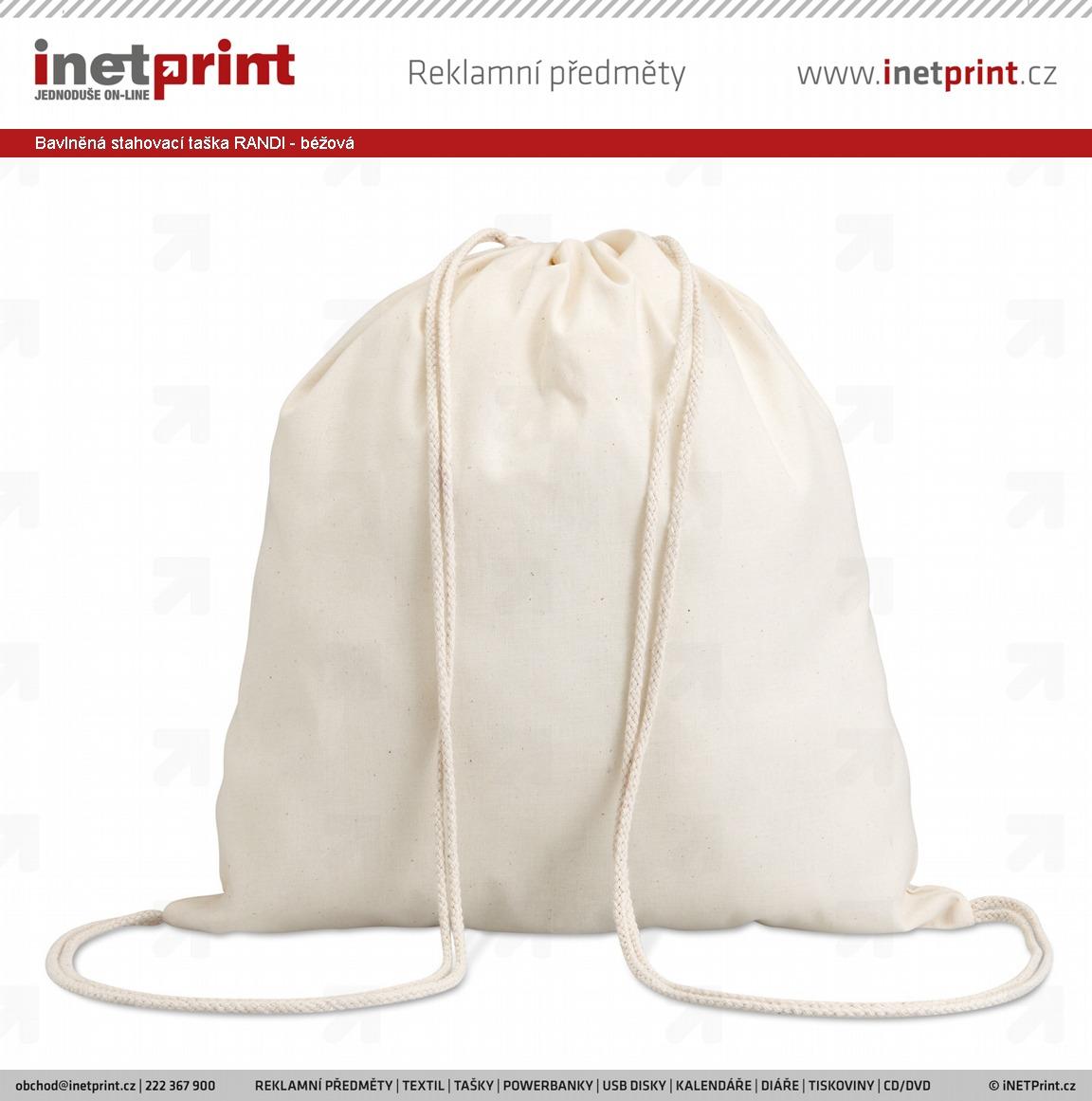 Bavlněná stahovací taška RANDI - béžová - iNETPrint.cz bc05c09b6c