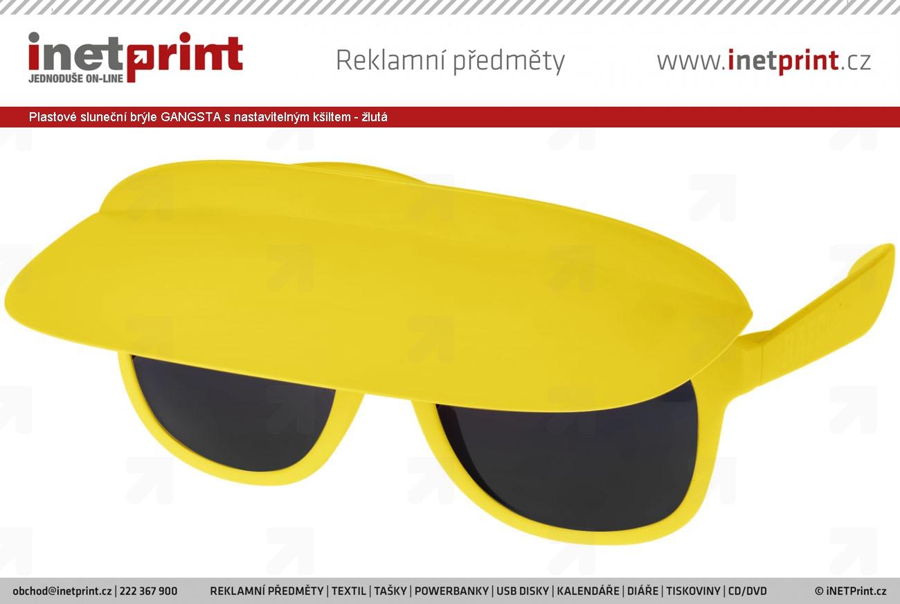 Plastové sluneční brýle GANGSTA s nastavitelným kšiltem - žlutá ... 0d3e9c18d9