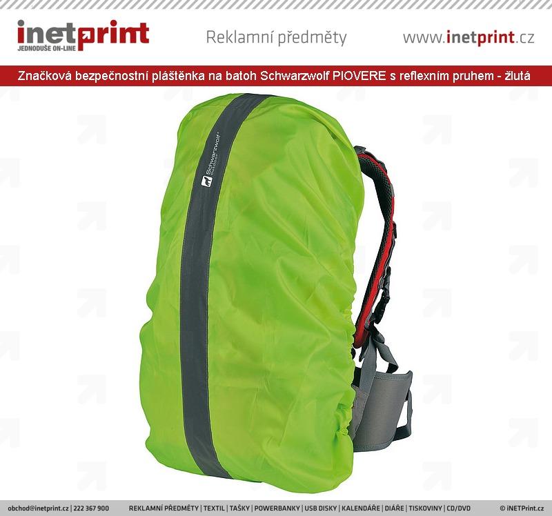 Značková bezpečnostní pláštěnka na batoh Schwarzwolf PIOVERE s reflexním  pruhem - žlutá f5f50d22189