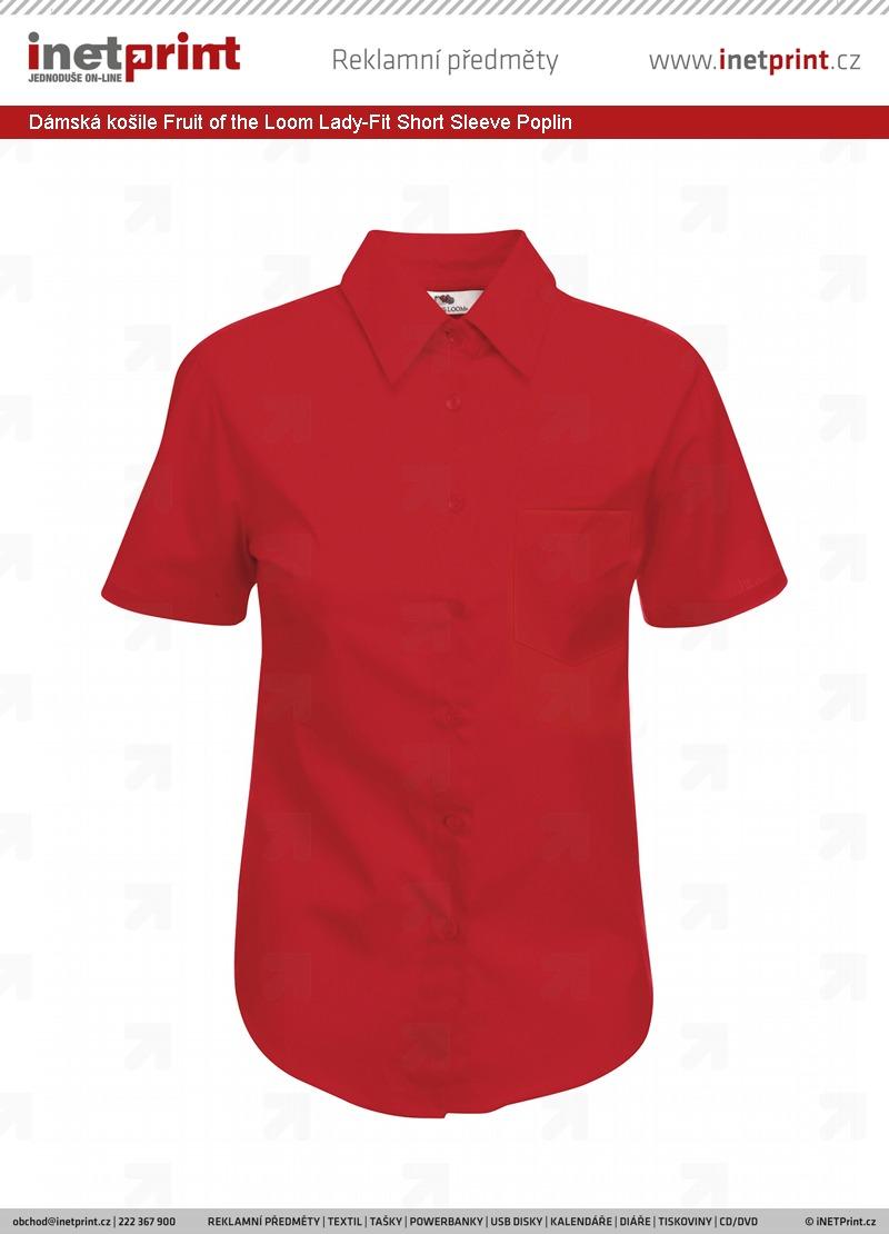 Dámská košile Fruit of the Loom Lady-Fit Short Sleeve Poplin ... e03182d32e
