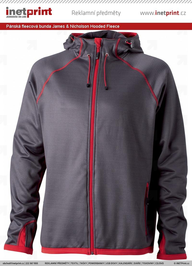 23fa28a22955 Pánská fleecová bunda James   Nicholson Mens Hooded Fleece. Náhled produktu
