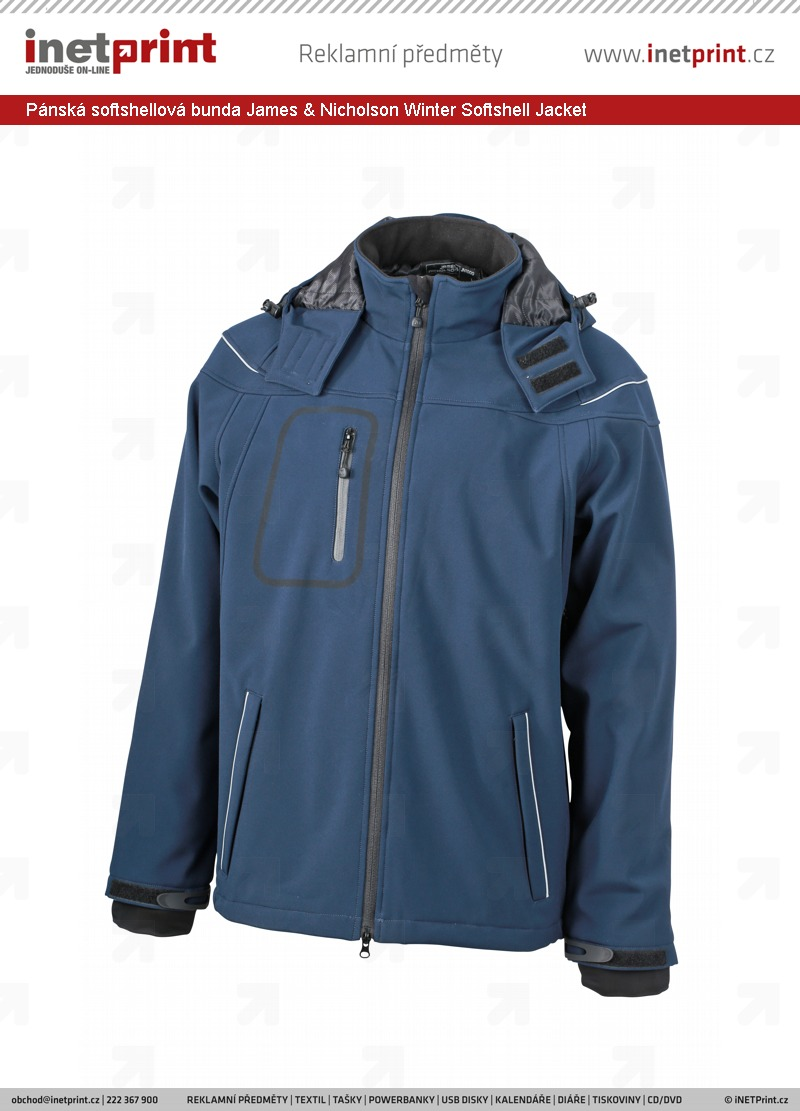 14a6b56ddb78 Pánská softshellová bunda James   Nicholson Mens Winter Softshell Jacket.  Náhled produktu