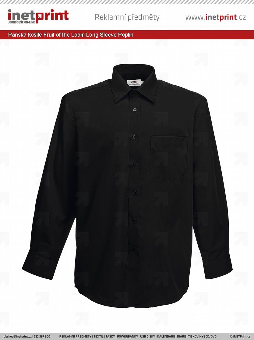 Branding  Pánská košile Fruit of the Loom Long Sleeve Poplin ... 15319a9356