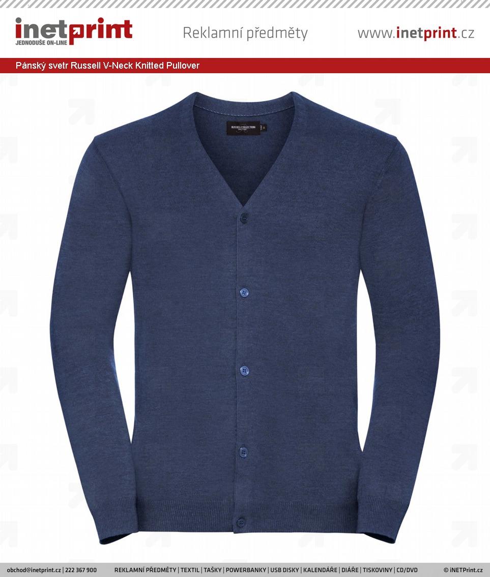 Pánský svetr Russell V-Neck Knitted Pullover - iNETPrint.cz 6284cb769f